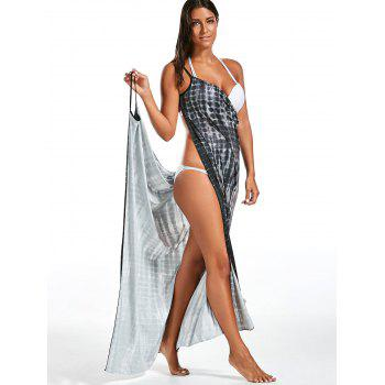 Wrap Cover Up Dress with Illusion Print - GRAY GRAY