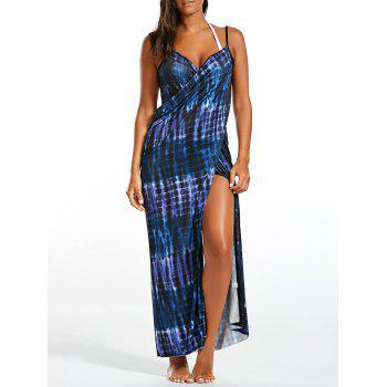 Wrap Cover Up Dress with Illusion Print - BLUE BLUE