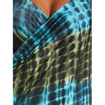 Wrap Cover Up Dress with Illusion Print - GREEN GREEN