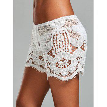 Crochet Swimsuit Cover Up Shorts - WHITE ONE SIZE