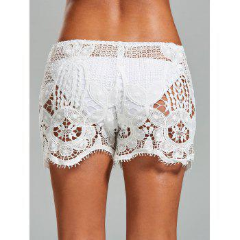 Crochet Swimsuit Cover Up Shorts - WHITE WHITE