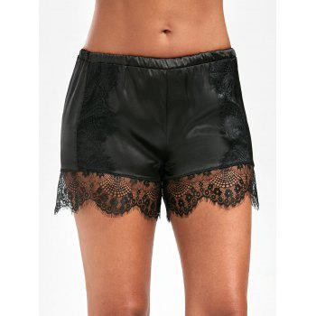 Lace Panel Satin Swimming Shorts - BLACK M