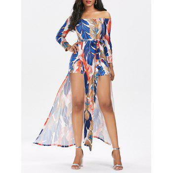 Off The Shoulder Split Printed Romper Dress