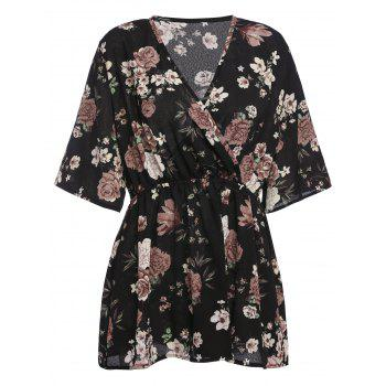 Plus Size Floral Chiffon Surplice V Neck Top
