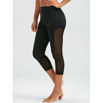 Mesh Insert Cropped Leggings - BLACK M