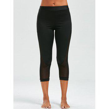Mesh Insert Cropped Leggings - M M