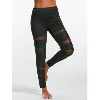 High Waist Mesh Insert Leggings - BLACK BLACK