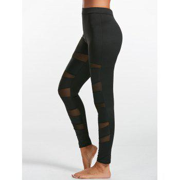 High Waist Mesh Insert Leggings - L L