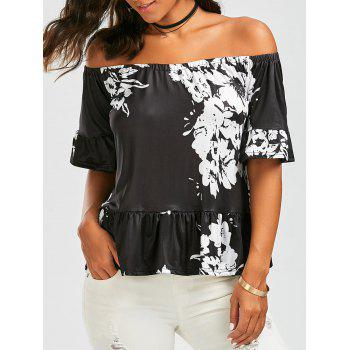 Off The Shoulder Floral Print Peplum Blouse
