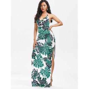Halter Backless High Split Printed Club Dress - GREEN GREEN