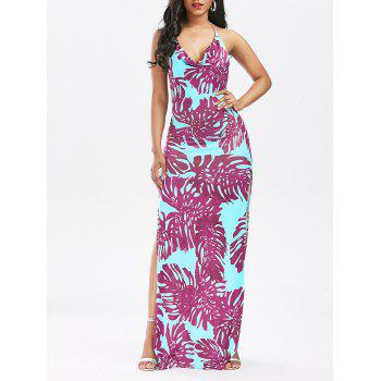 Halter Backless High Split Printed Club Dress - TUTTI FRUTTI XL