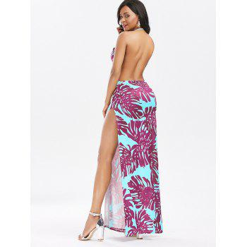 Halter Backless High Split Printed Club Dress - XL XL