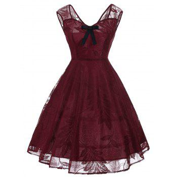 Vintage Bowknot Embellished Lace Dress