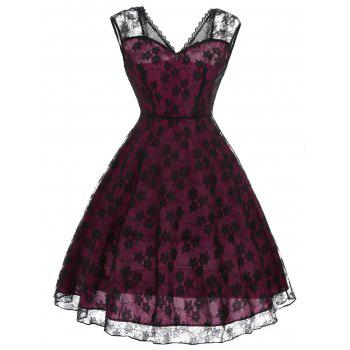 Vintage Floral Pattern Lace Dress