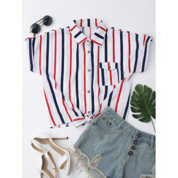 Striped Button Up Knotted Shirt