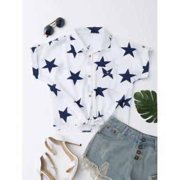 Star Print Knotted Button Up Shirt