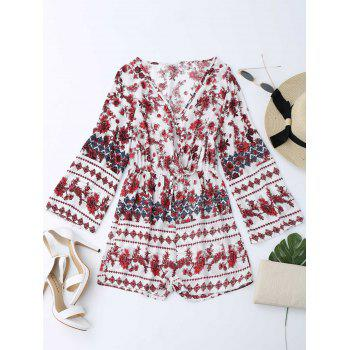 Plunging Neck Floral Long Sleeve Romper
