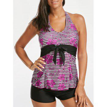 Backless Halter Floral Striped Tankini Set