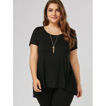 Cut Out Plus Size Print Tunic Top - BLACK XL
