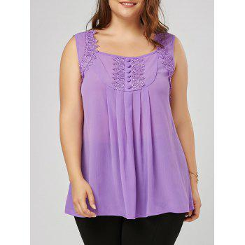 Plus Size Square Neck Lace Trim Blouse