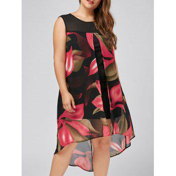 Plus Size Sleeveless Floral High Low Dress