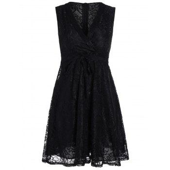 V Neck Lace Mini Skater Dress