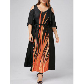 Plus Size Cold Shoulder Capelet Dress