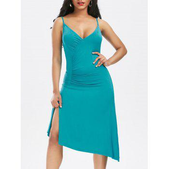 Wrap Front Asymmetric Slip Dress