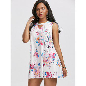 Keyhole Ink Printing Trapeze Dress - XL XL