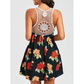 Crochet Trim Openwork Floral Dress