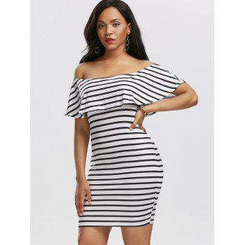 Off The Shoulder Flounce Striped Dress - WHITE WHITE