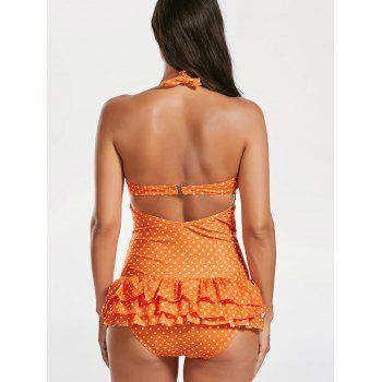 Halter Skirted Polka Dot Ruffles Swimsuit - JACINTH JACINTH