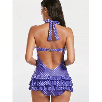 Halter Skirted Polka Dot Ruffles Swimsuit - PURPLE PURPLE