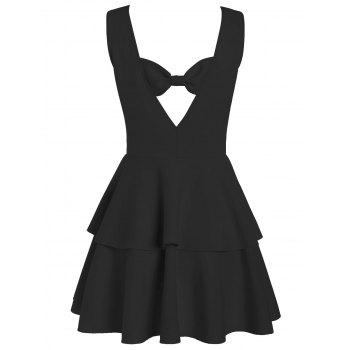 Bowknot Cut Out Back Layered Flouce Dress - BLACK BLACK