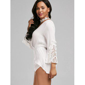 Lace Insert Backless Surplice Romper - WHITE XL