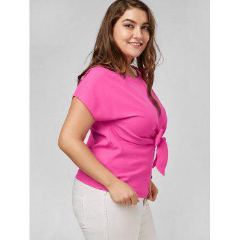 Plus Size Front Bow Knot Peplum Top - ROSE RED ROSE RED