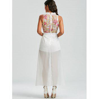 Floral Embroidered Mesh Insert Maxi Romper - WHITE XL