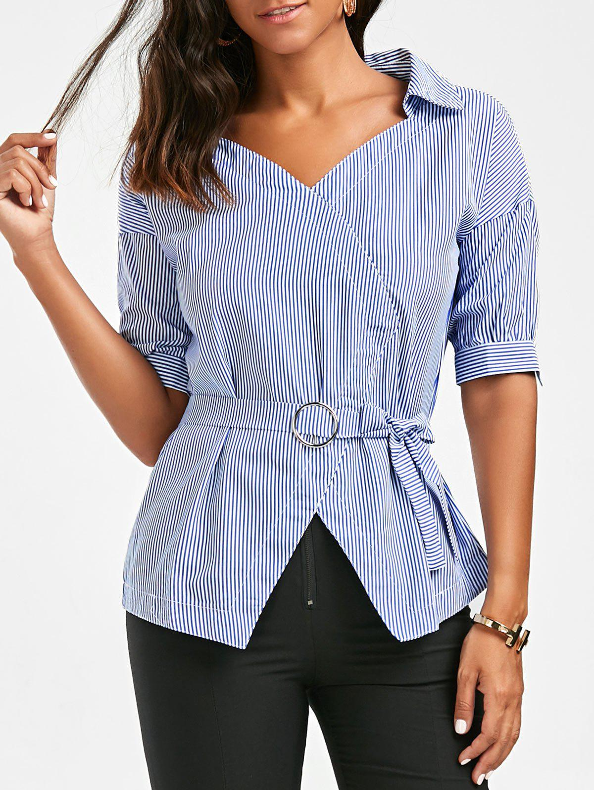 O Ring Belted Striped Blouse catalog o ring