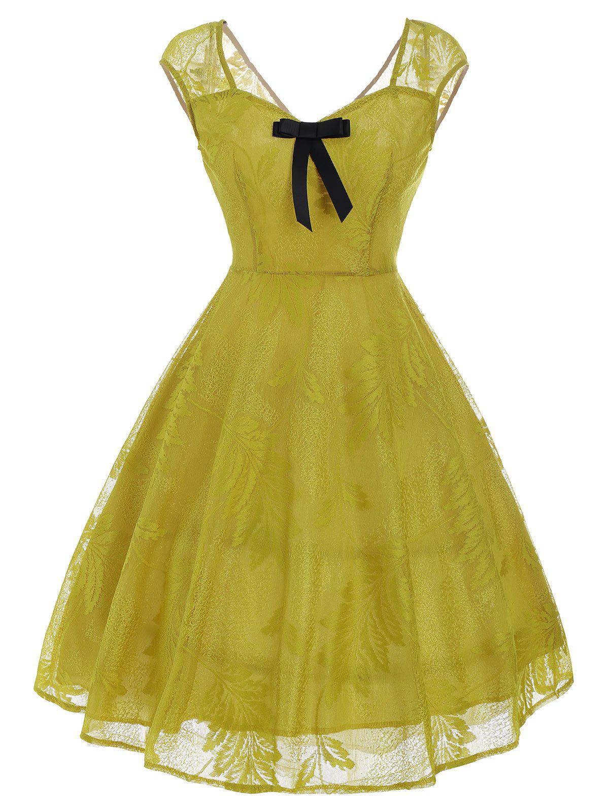 Vintage Bowknot Embellished Lace Dress, YELLOW, XL in ...