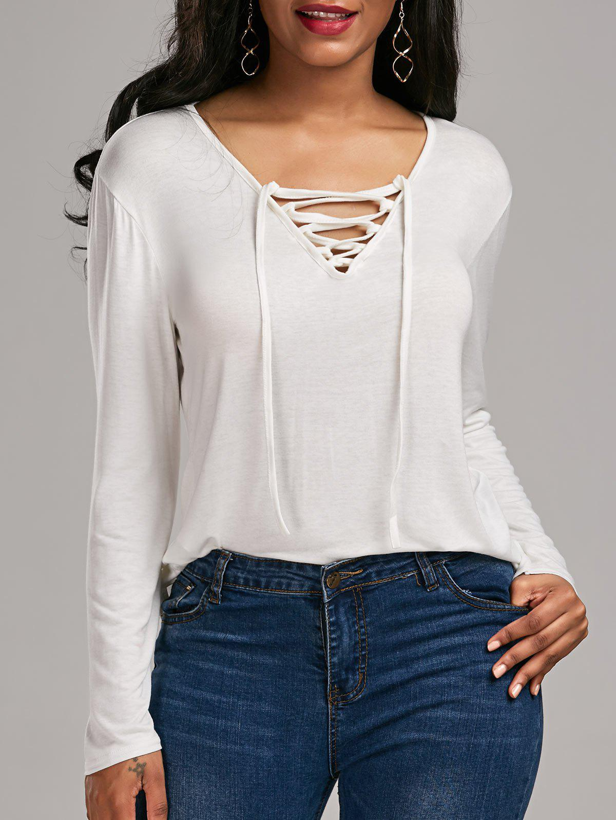 Lace Up Long Sleeve Tee sanctuary new tan long sleeve lace inset tee xs $49 dbfl