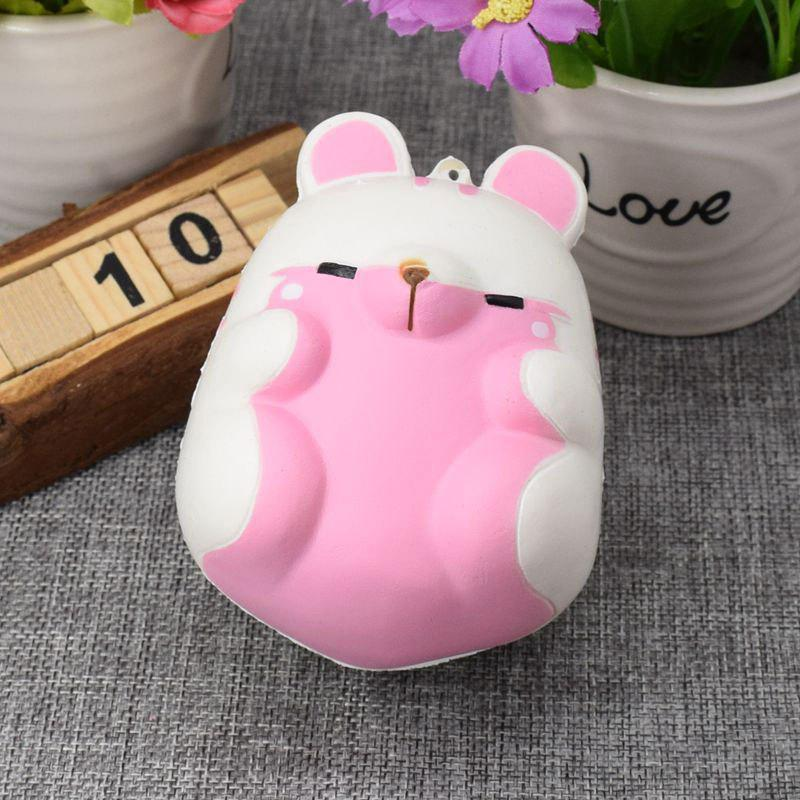 Simulation Animal Hamster Slow Rising Squishy Toy - Blanc