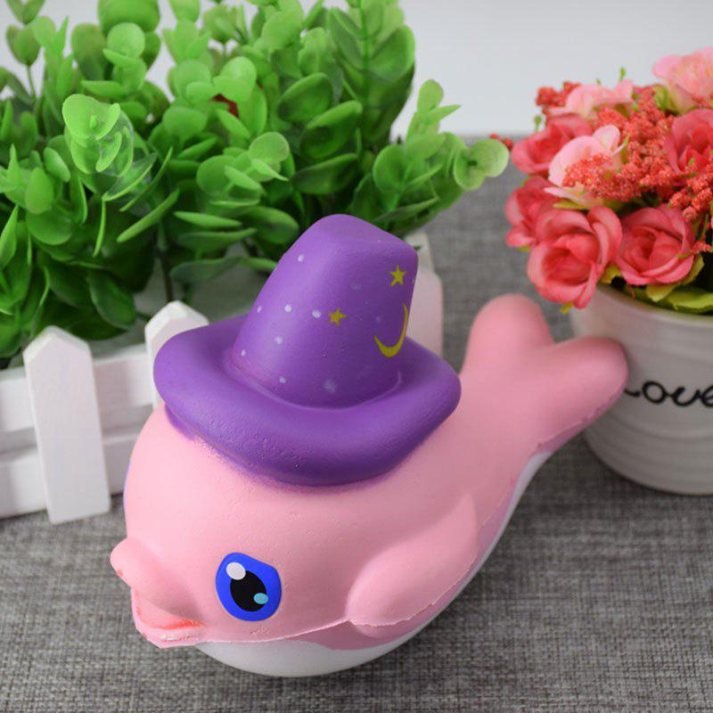 Scented Simulation Magic Hat Dolphin Cartoon Squishy Toy - ROSE PÂLE