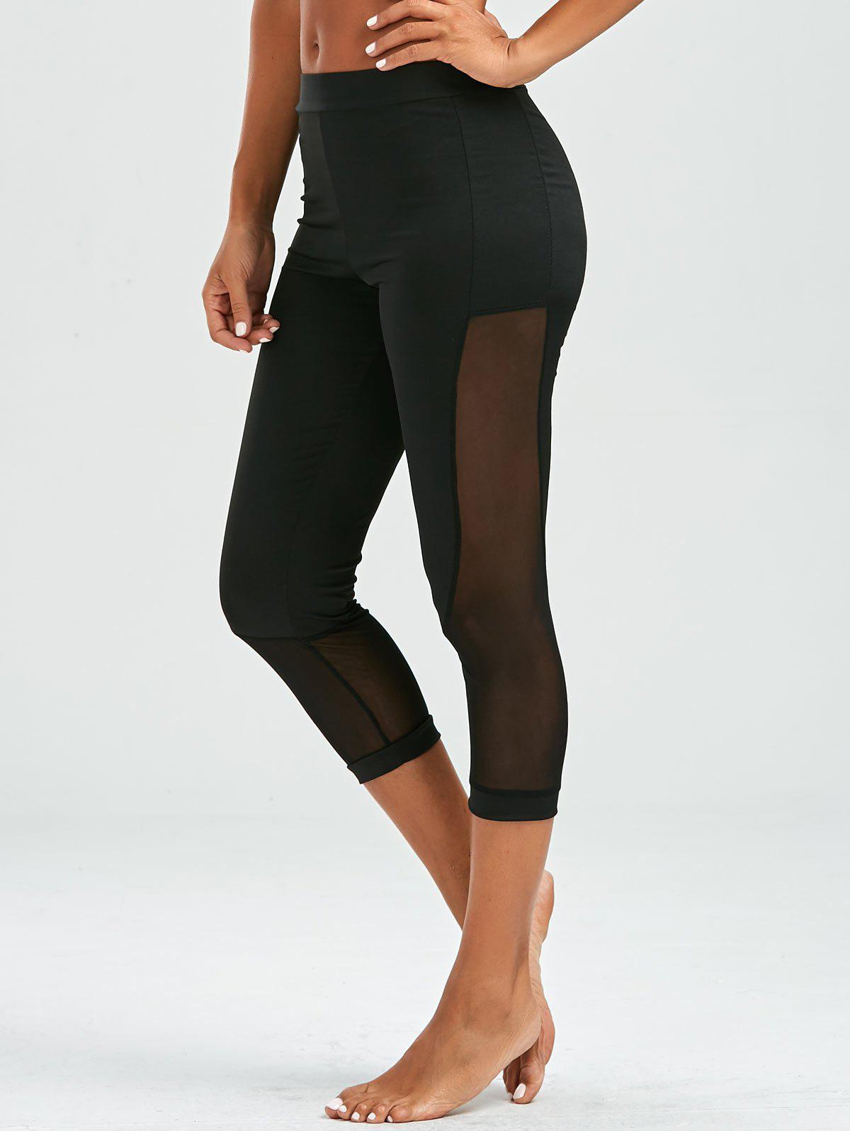 Mesh Insert Cropped Leggings - BLACK L