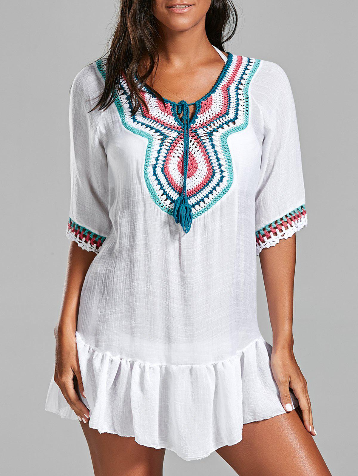 Crochet Peasant Cover-Up Tunic Dress - WHITE ONE SIZE