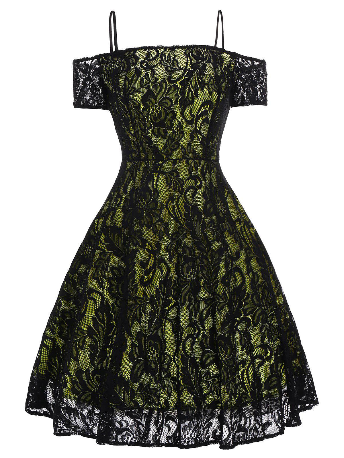 Vintage Lace Fit and Flare Dress lace overlay fit and flare dress