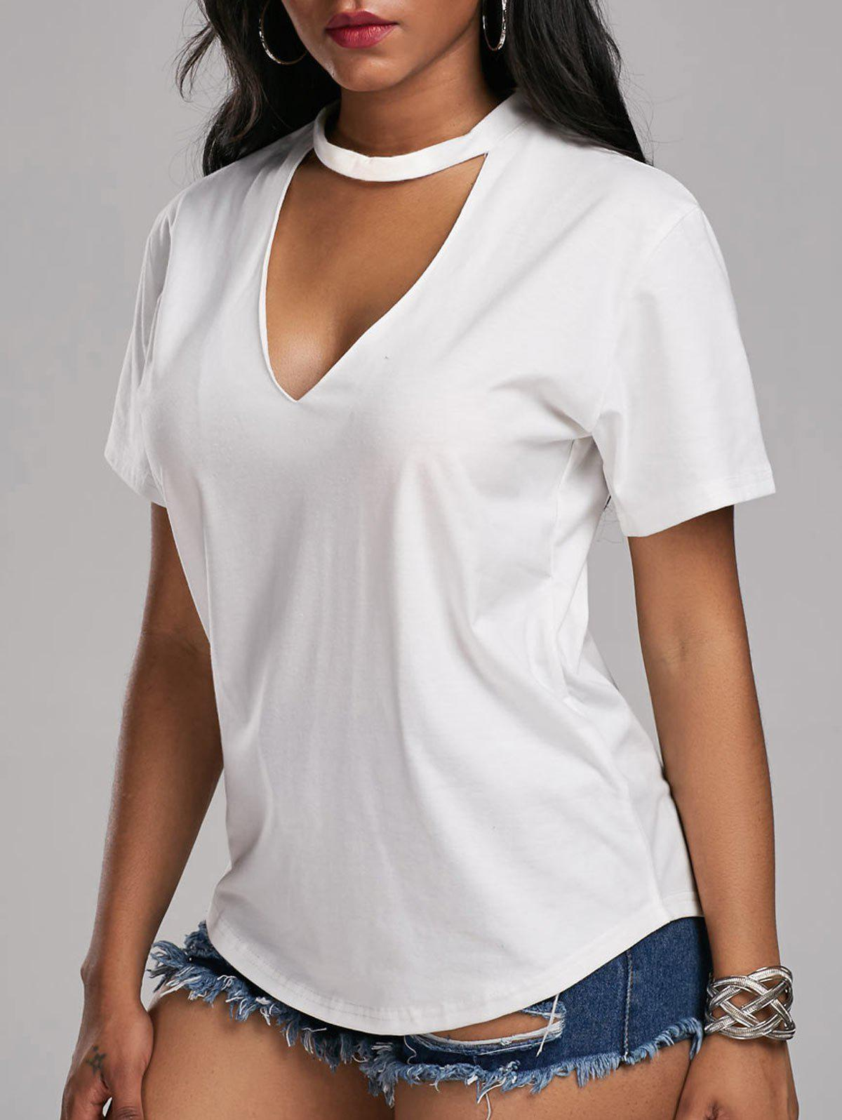 2018 Low Cut Choker T Shirt WHITE S In Tees & T-Shirts Online ...