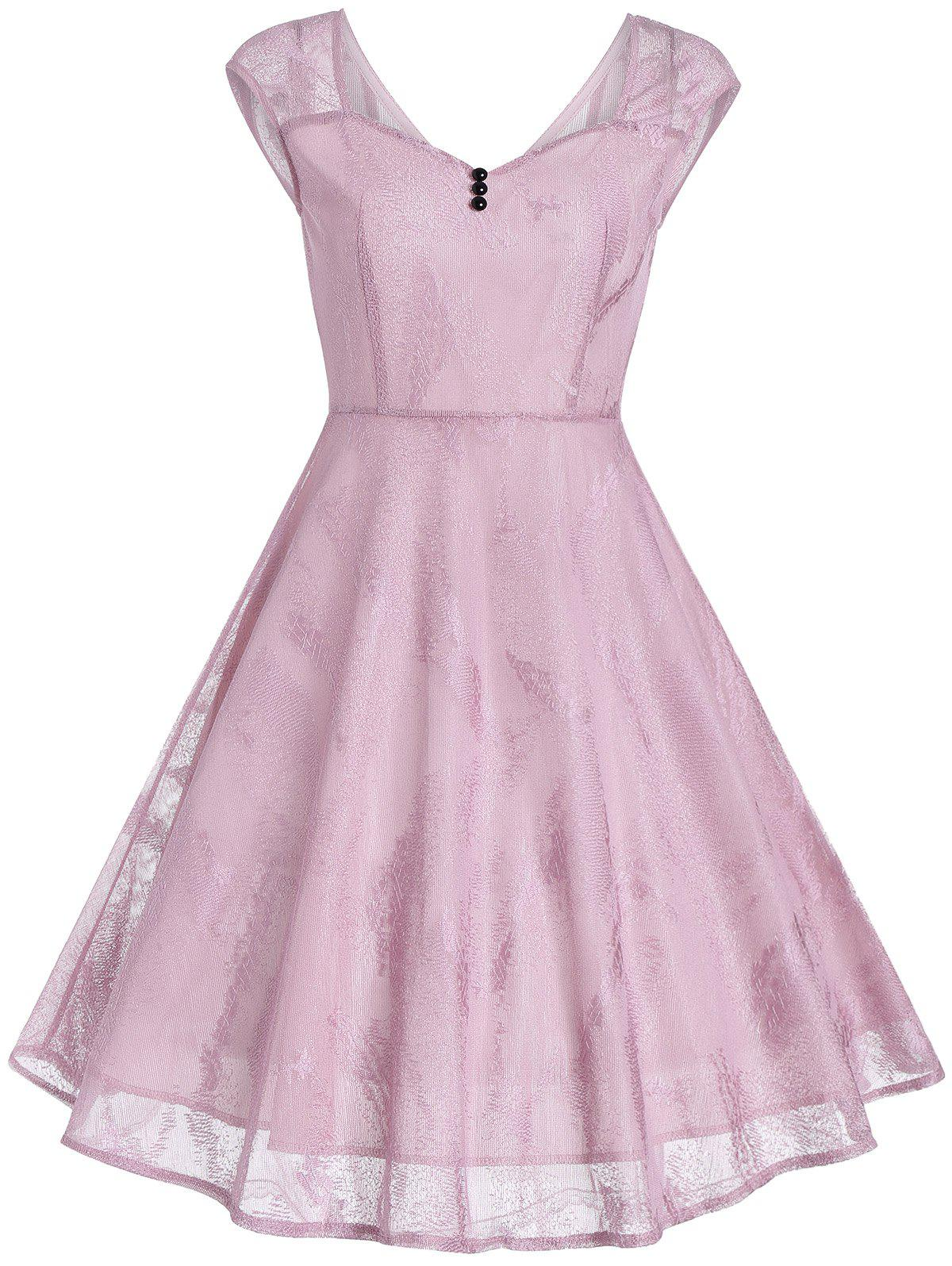 Vintage Buttons Embellished Lace Fit and Flare Dress - PINK 2XL
