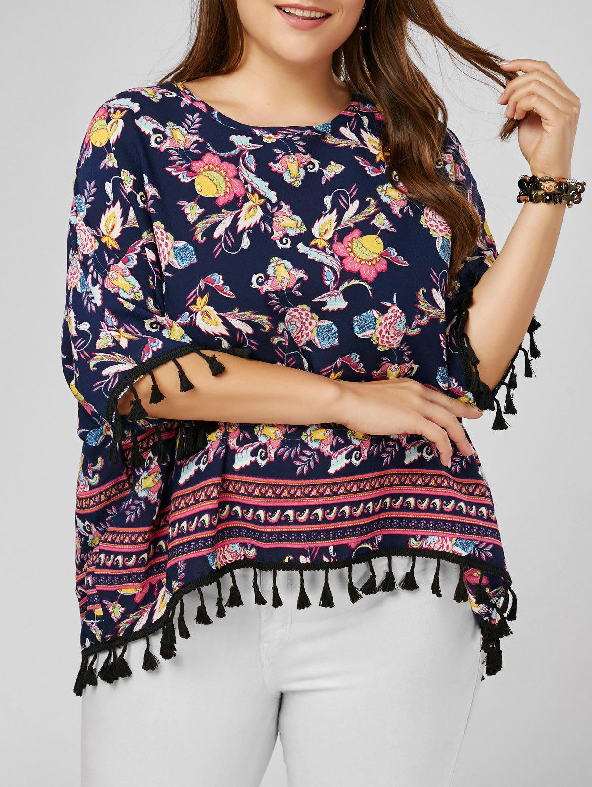 Tassel Dolman Sleeve Printed Plus Size Top - multicolorcolore ONE SIZE