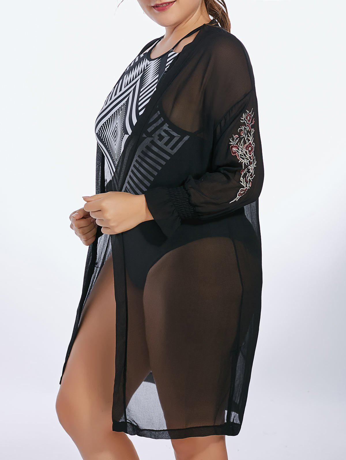 Plus Size Chiffon Sheer Long Sleeve Cover Up Kimono butterfly sheer plus size crochet cover up
