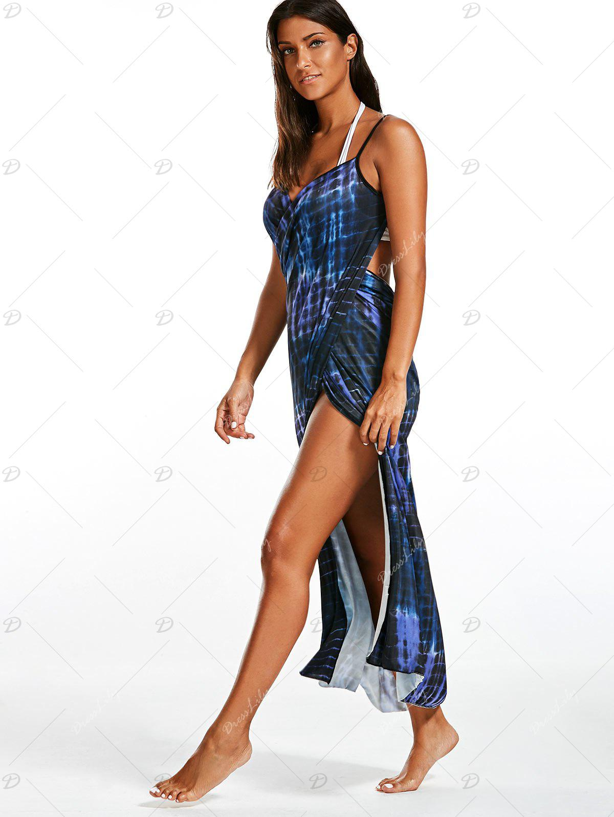 Wrap Cover Up Dress with Illusion Print - BLUE ONE SIZE